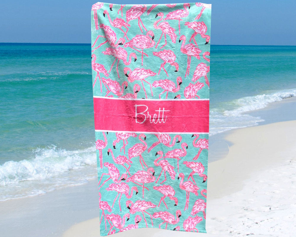 Flamingo Personalized Beach Towel with Name