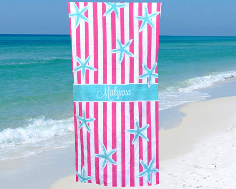 Beach Towel Personalized with Name Starfish Print
