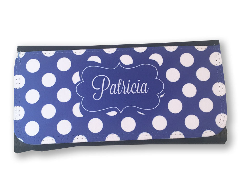 Personalized Ladies Wallet Blue Polka Dot with Name