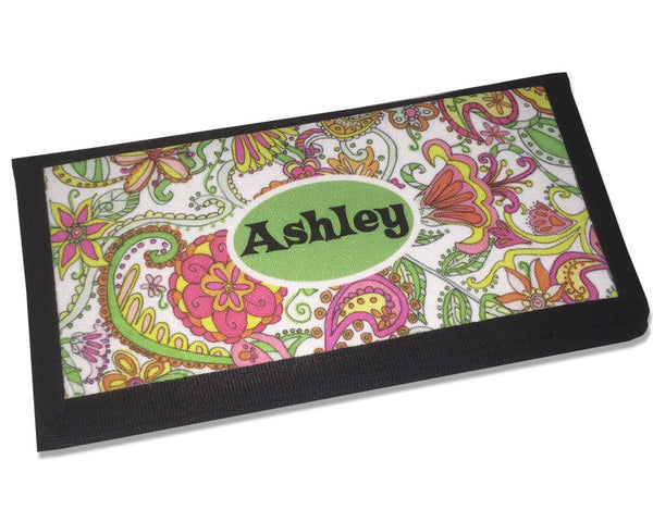 Personalized Ladies Checkbook Cover Flower Pattern