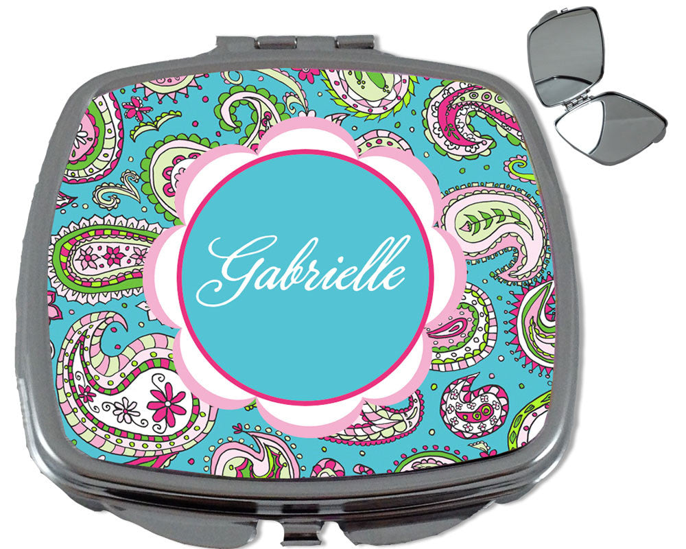 Personalized Compact Purse Mirror with Name on Paisley Print