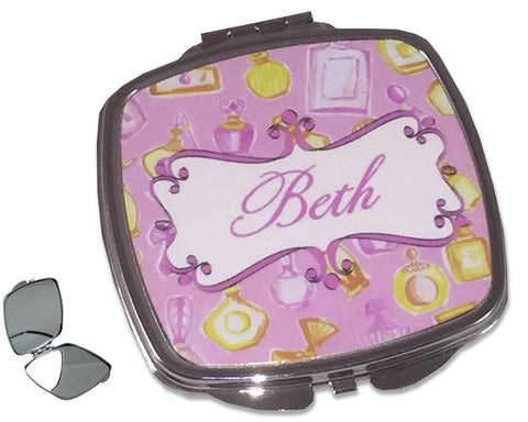 Makeup Compact Mirror with Name Perfume Design