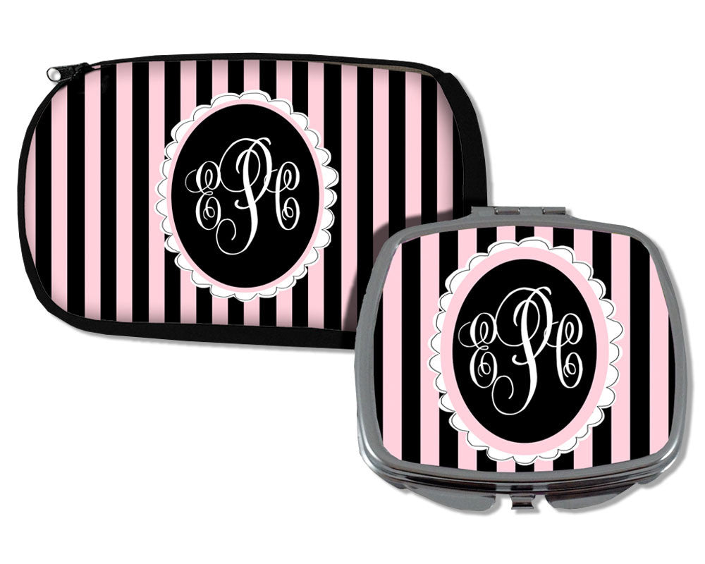 Monogrammed Cosmetic Bag and Compact Mirror
