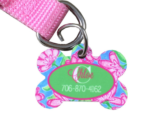 Dog Tag Bone Shape Personalized Roses Pattern