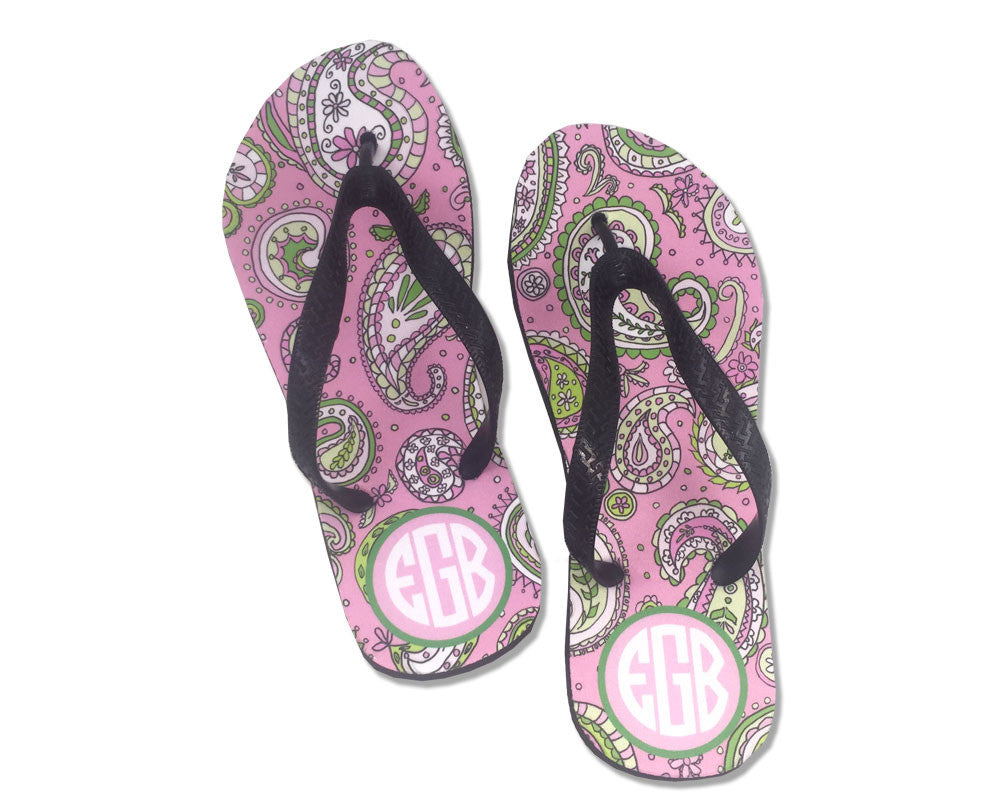 Personalized Flip Flops with Monogram Pink Paisley for Women