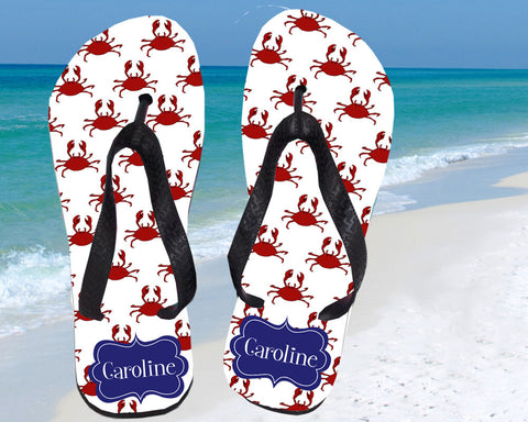 Personalized Flip Flops with Name Beach Crabs for Women
