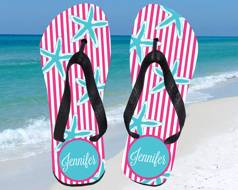 Starfish Flip Flops Personalized with Name for Women
