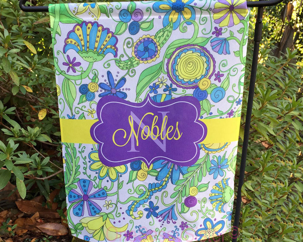 Personalized Garden Flag with Name and Initial