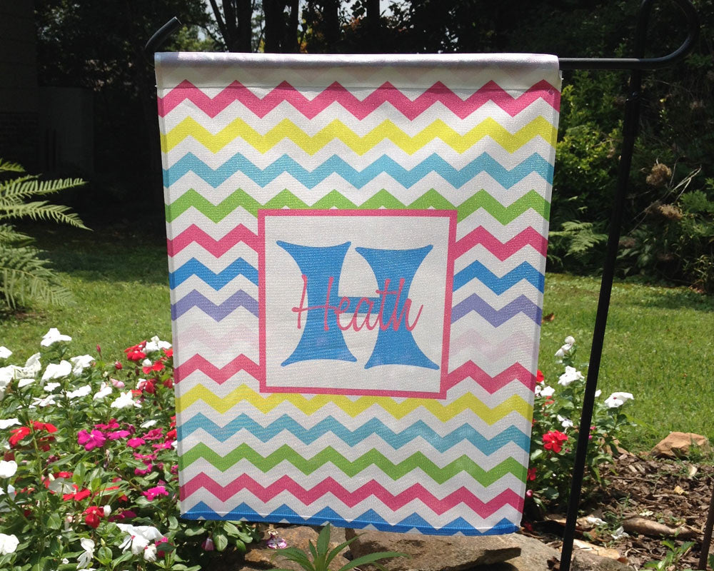 Garden Flag Personalized with Name and Initial on Rainbow Chevron