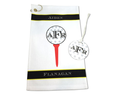 Personalized Golf Towel and Bag Tag Set with Monogram