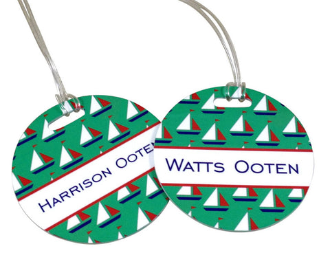 Backpack Tag or Bag Tag for Boys Sailboat Tag Personalized with Name