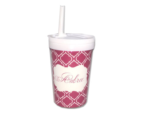Personalized Sippy Cup with Straw for Girl in Pink