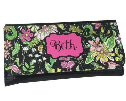 Personalized Ladies Wallet with Name on Flower Pattern