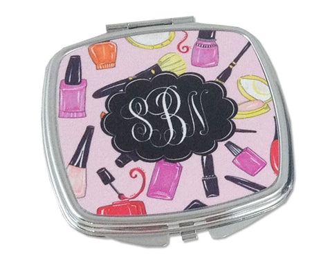 Monogrammed Compact Mirror Personalized Mirror for Purse with Monogram