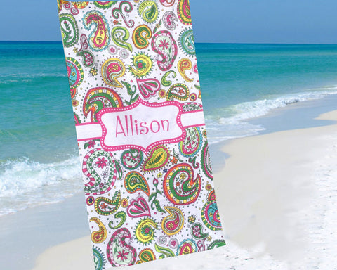 Personalized Beach Towel Paisley