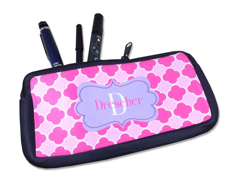 Personalized Pencil Bag or Small Cosmetic Bag with Name and Initial