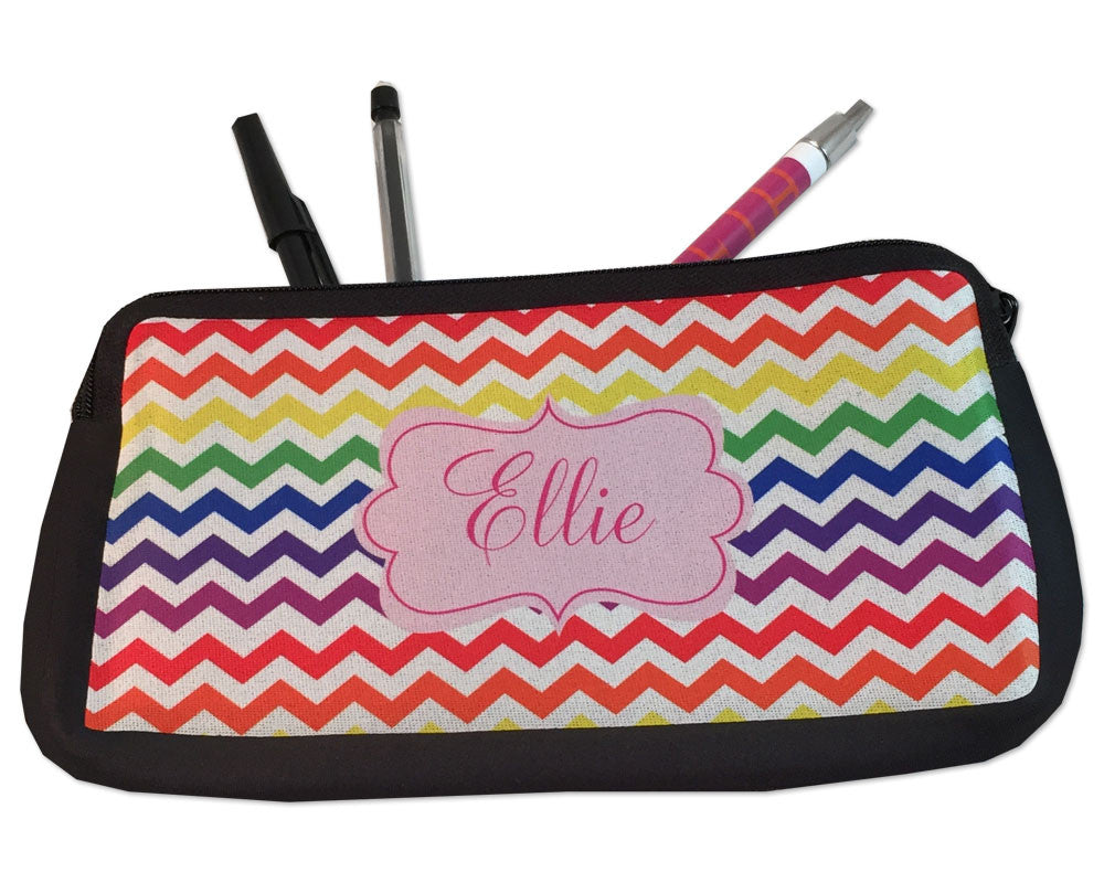 Personalized Pencil Bag Rainbow Chevron Kids Pencil Case
