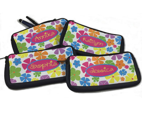 Pencil Bag Personalized with Name Flowers