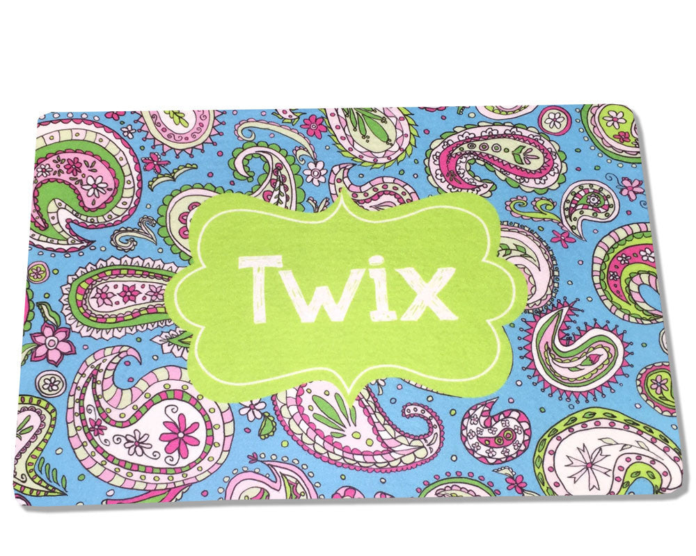 Personalized Food Mat for Cat or Dog Paisley Design