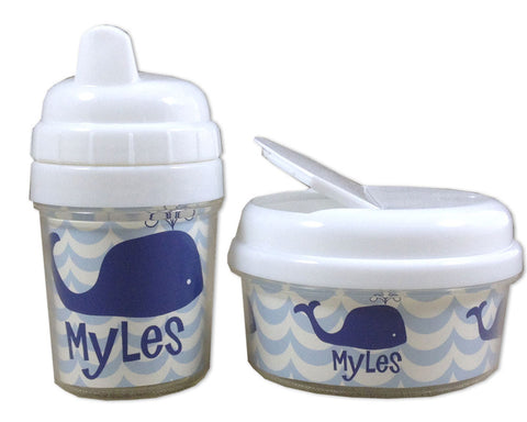 Baby Sippy Cup and Snack Bin Set Personalized Blue Whale