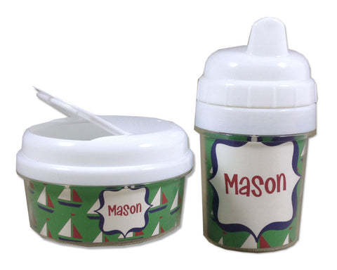 Personalized Boys Sippy Cup and Snack Bin Set with Name
