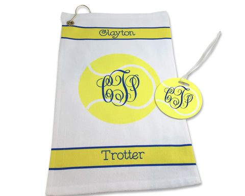 Tennis Towel and Bag Tag Set Personalized with Name