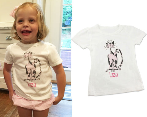 Personalized Toddler Shirt for Girls with Pink Cat