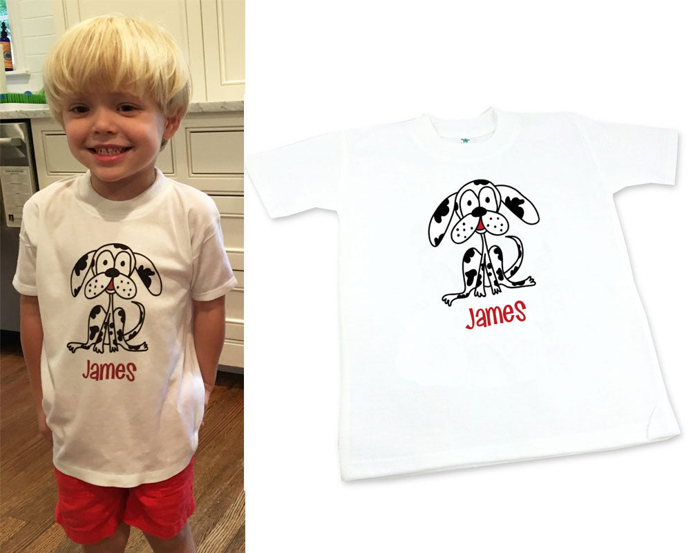 Personalized Toddler Tee Shirt for Boy with Puppy Dog
