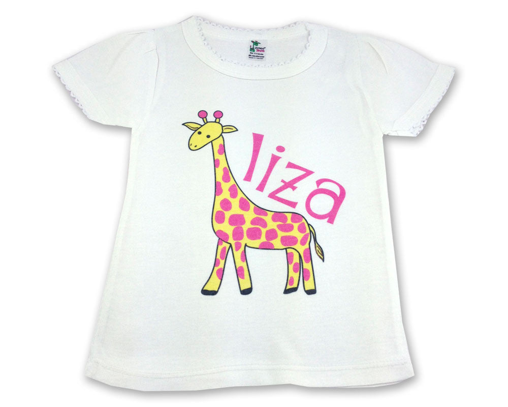 Personalized Shirt for Toddler Girls with Pink Giraffe