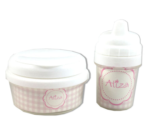 Personalized Baby Sippy Cup and Snack Bin Set for Girls