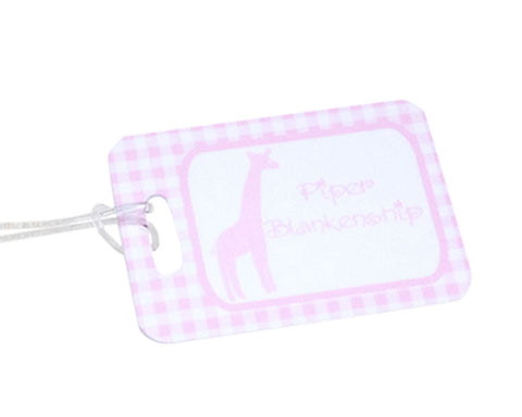 Diaper Bag Tag for Girls Personalized with Giraffe