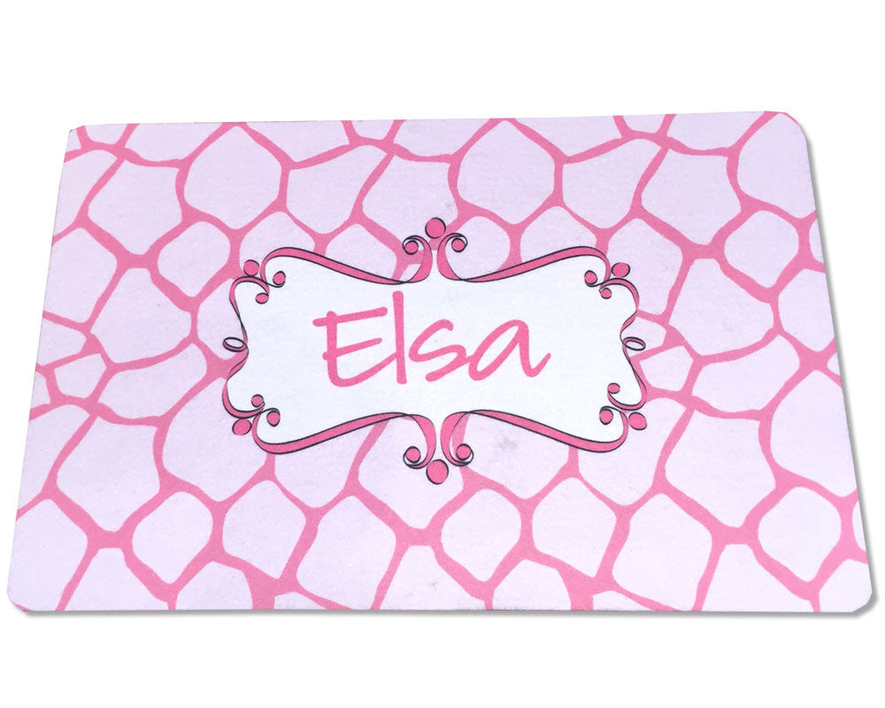 Personalized Pet Placemat with Name on Giraffe Print