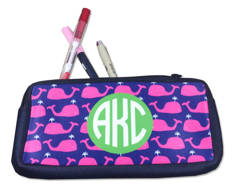 Monogrammed Pencil Bag or Small Cosmetic Bag Hot Pink Whales