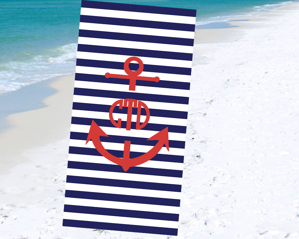 Monogrammed Beach Towel Navy Stripes with Red Anchor