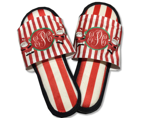 Christmas Bedroom Slippers with Monogram and Santa