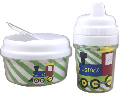 Sippy Cup and Snack Bin Set Personalized with Train