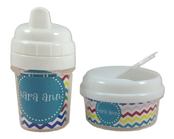 Sippy Cup and Snack Bin Set Personalized Chevron