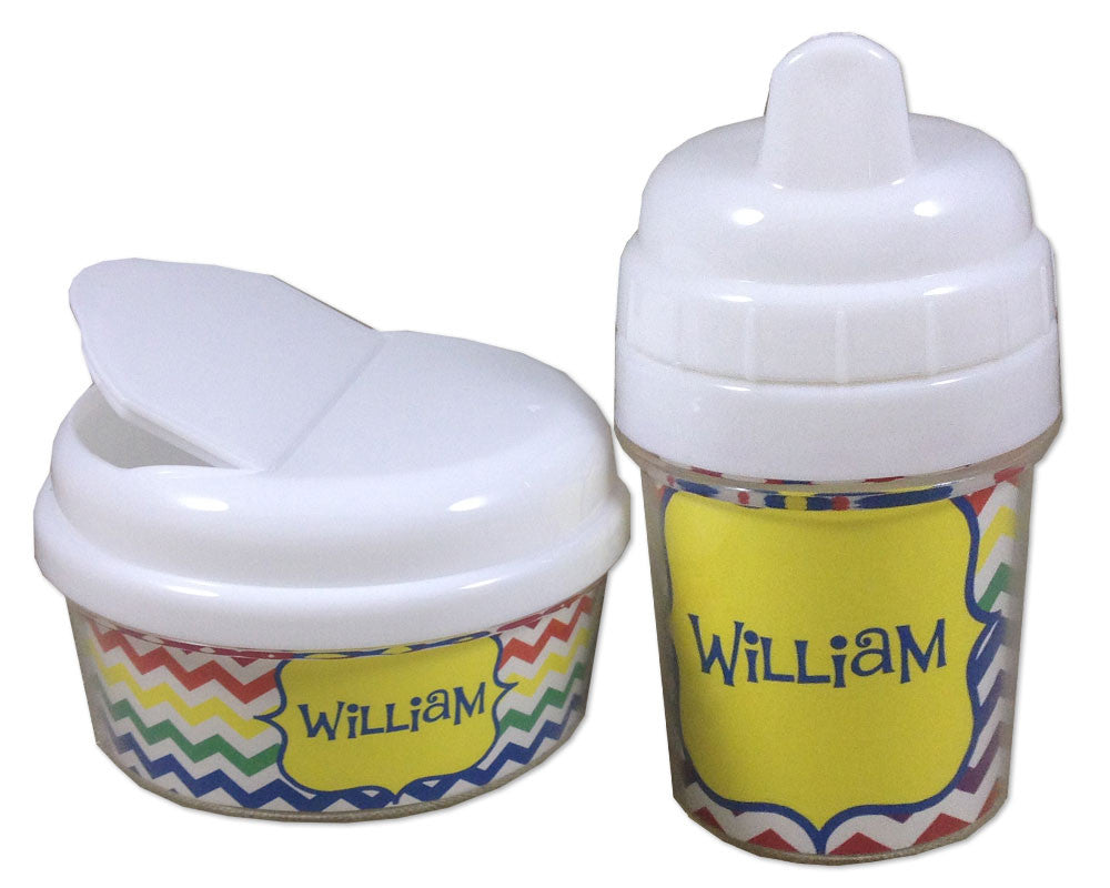 Sippy Cup and Snack Bin Set Personalized