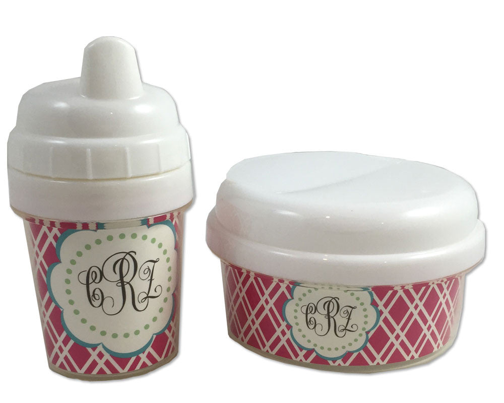 Baby Girl Sippy Cup and Snack Bin Set with Monogram
