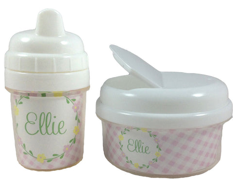 Sippy Cup and Snack Bin Set for Girls Personalized