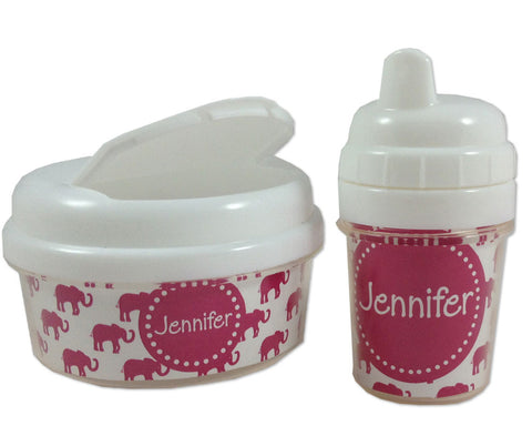 Girls Sippy Cup and Snack Bin Set Personalized