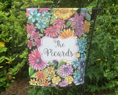 Garden Flag with Flowers Personalized