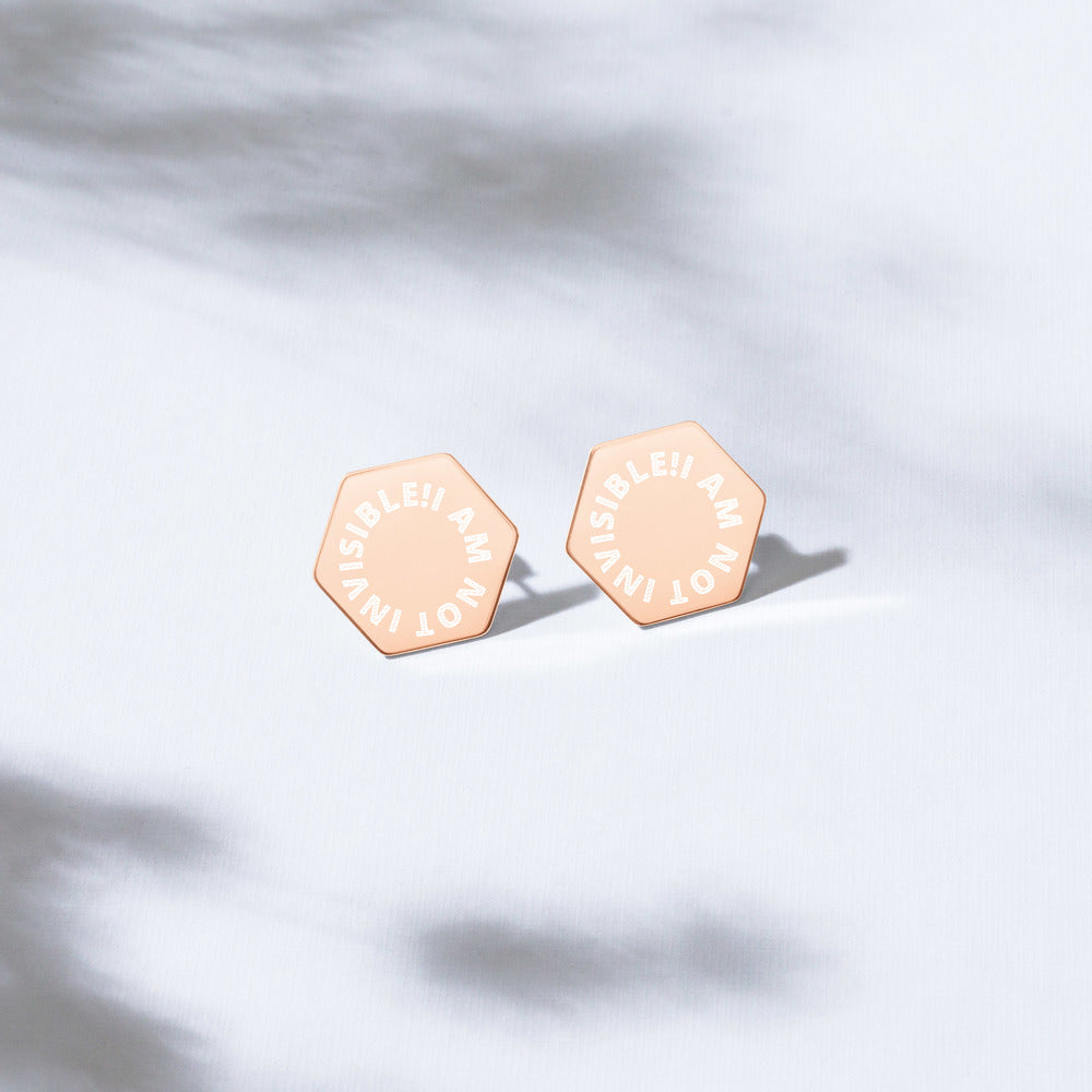 Sterling Silver Hexagon Stud Earrings - I AM NOT INVISIBLE