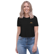 Load image into Gallery viewer, Women's Embroidered  Flowy Crop Tee | Bella + Canvas 8882 - unlimited