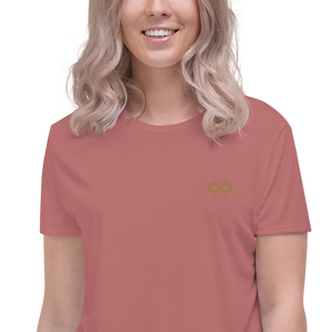 Women's Embroidered  Flowy Crop Tee | Bella + Canvas 8882 - unlimited