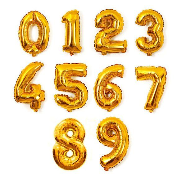 Number Gold Foil Balloons
