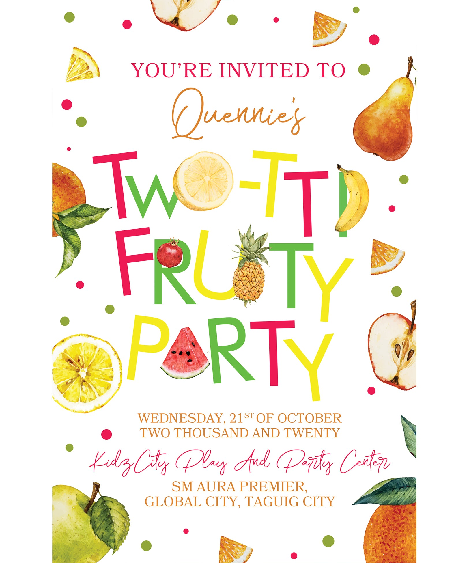 Fruity Birthday Invitation