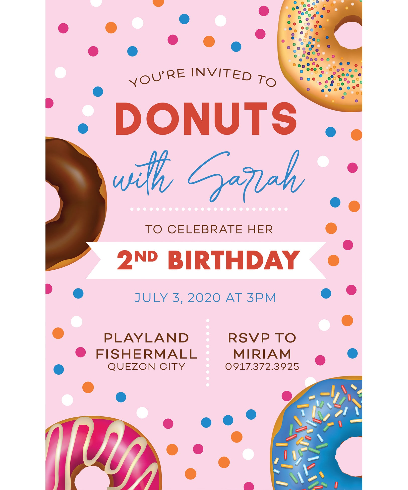 Donuts Birthday Invitation