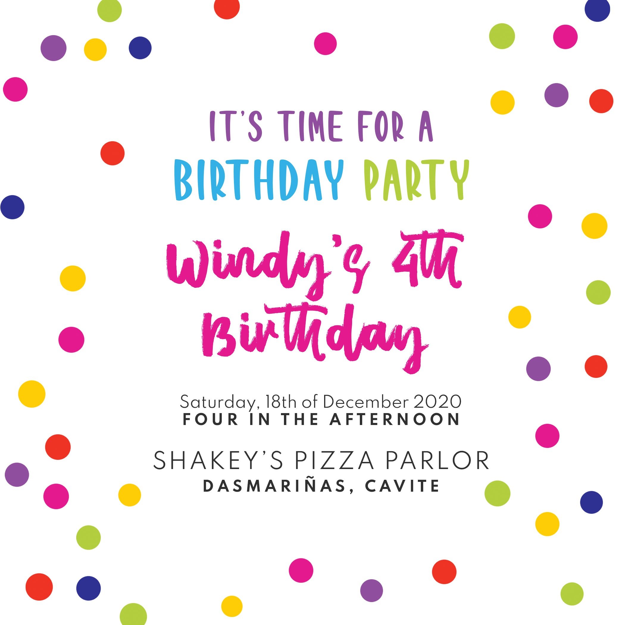 Colorful Dots Birthday Invitation