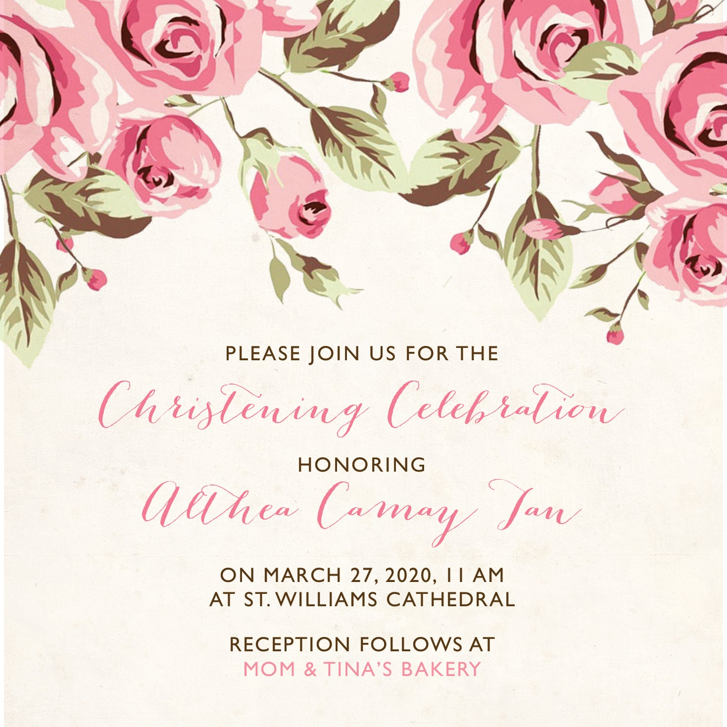 Althea Christening Invitation